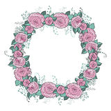 Vector flowers set. Beautiful wreath. Elegant floral collection with isolated blue,pink leaves and flowers, hand drawn Stock Images