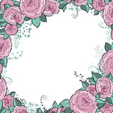 Vector flowers set. Beautiful wreath. Elegant floral collection with isolated blue,pink leaves and flowers, hand drawn Royalty Free Stock Photo