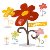 Vector Flowers Set with Rain Drops Stock Photos