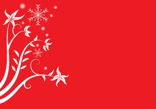 Vector flowers and snowflake of Christmas or New Year Red clear vector illustration
