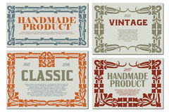 Vector flowers vintage labels on different versions. Stock Photos