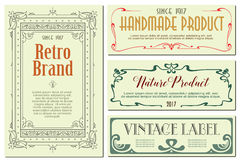 Vector flowers vintage labels on different versions. Royalty Free Stock Images