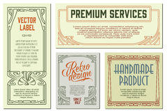 Vector flowers vintage labels on different versions. Stock Images