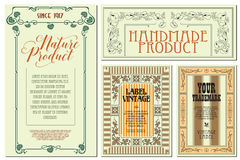 Vector flowers vintage labels on different versions. Royalty Free Stock Photography