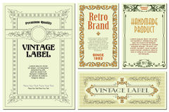 Vector flowers vintage labels on different versions. Stock Photo