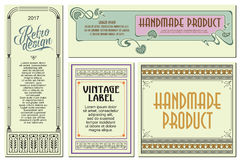 Vector flowers vintage labels on different versions. Royalty Free Stock Photo