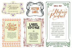 Vector flowers vintage labels on different versions. Stock Photography