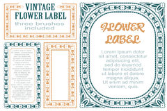 Vector flowers vintage labels on different versions for decoration and design. Three brushes included.  Stock Photography