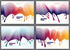 Vector fluid flow wavy abstract colorful backgrounds set. 3d col. Orful gradient motion art. Lined texture, dynamic surface, curve lines, flow shape Stock Images