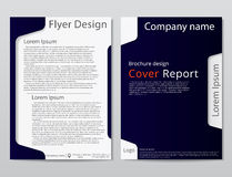 Vector flyer brochure design geometric template abstract. Dark blue white color. Stock Photography