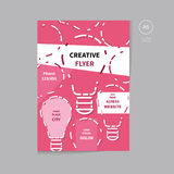 Vector flyer brochure design template size a5. Creative and modern brochure flyer design with bulbs concept in pink color Stock Photos