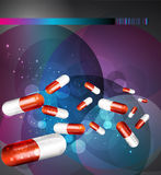 Vector flyer with capsules (health issue) Royalty Free Stock Photo