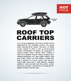 Vector flyer with the car and roof rack. Royalty Free Stock Images
