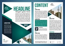Vector flyer, corporate business, annual report, brochure design and cover presentation with green triangle and city