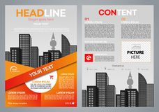 Vector flyer, corporate business, annual report, brochure design and cover presentation with vector city and red line
