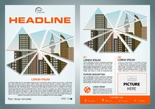 Vector flyer, corporate business, annual report, brochure design. And cover presentation with vector city in triangle in red color stock illustration