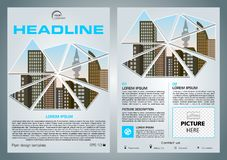 Vector flyer, corporate business, annual report, brochure design. And cover presentation with vector city in triangle in blue color royalty free illustration