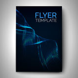 Vector flyer design. Glossy lines wave on dark background. Template for brochure, poster, banner, card or other design Royalty Free Stock Photography