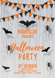 Vector flyer for halloween party. Vector illustration with black paper bats and spiders. Beautiful poster with festive orange and black garland on wooden texture Royalty Free Stock Photos