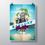 Vector Flyer illustration on a Summer Karaoke Party theme with microphones and ribbon on ocean landscape background. Royalty Free Stock Photos