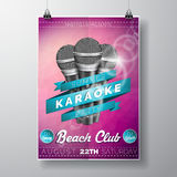 Vector Flyer illustration on a Summer Karaoke Party theme with microphones and ribbon on violet background. Royalty Free Stock Image