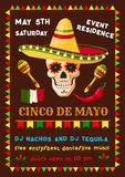 Vector flyer of Mexican Cinco de Mayo fiesta party. Cinco de Mayo invitation poster for Mexican party fiesta of national holiday celebration. Vector flyer design Royalty Free Stock Photography