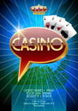 Vector flyer for night party in Nevada casino with label on map Stock Photography