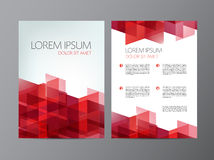 Vector flyer, red brochure abstract design 2 sides Stock Images