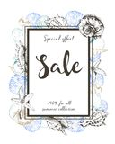 Vector flyer of summer sale. Border square composition. Decorated with seashells. Hand drawn vintage art. Royalty Free Stock Images