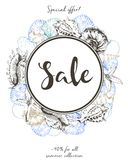 Vector flyer of summer sale. Decorated with colored seashells. Hand drawn vintage art. Royalty Free Stock Photography