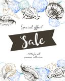Vector flyer of summer sale. Decorated with seashells and ribbon banner. Hand drawn vintage art. Stock Photos