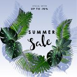 Vector flyer of summer sale. Decorated with trendy exotic plants. Hand drawn art. Royalty Free Stock Photo