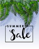 Vector flyer of summer sale. Decorated with trendy exotic plants and palm leaves. Hand drawn vintage art. Royalty Free Stock Image