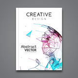 Vector flyer technology connections. Business Brochure template layout. Polygonal colorful style flyer Royalty Free Stock Photo