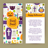 Vector Flyer Template of Flat Design Happy Halloween Objects and Stock Photo