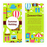 Vector Flyer Template of Flat Design Summer Holiday Concept Royalty Free Stock Image