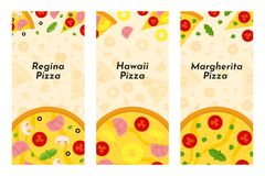 Vector flyers of Pizza and Pizzeria. stock illustration