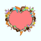 Vector flying angels and cupids around pink heart. Greeting card Royalty Free Stock Photos