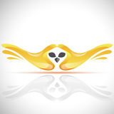 Vector flying bird logo from human`s hands. Stock Owl illustration Stock Photos
