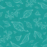 Vector flying green leaves seamless pattern Royalty Free Stock Photography