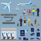 Vector flying passenger aircrafts, plane, check-in, pilot and stewardess. Airline working process signs collection on white. Vector poster of flying passenger Stock Image