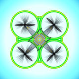 Vector flying quadcopter drone illustration Stock Images