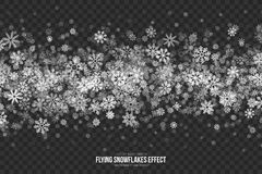 Vector Flying Snowflakes Effect. Vector Flying Snow Effect with Realistic White Shimmer Snowflakes Overlay on Transparent Background. Christmas Winter Holidays Royalty Free Stock Photos