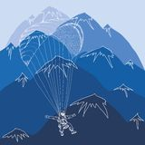 Vector flying sportsmen paragliding in mountains Royalty Free Stock Photography