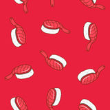 Vector flying sushi pattern with shrimp. Japanese seamless background flying sushi in pop art style Stock Photos
