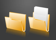 Vector folder icons. Empty and with document, eps8 Royalty Free Stock Photo