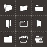Vector folder icons set. On black background Royalty Free Stock Images