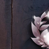 Vector foliage on wood background Royalty Free Stock Images