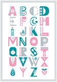 Vector folk alphabet decorated with nordic folk ornaments. Display font. stock illustration