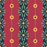 Vector Folk Daisies with Beads on red seamless pattern background. vector illustration